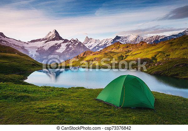 vallée, suisse, emplacement, alpes, alpin, grindelwald., sunlight., bachalpsee, incandescent - csp73376842
