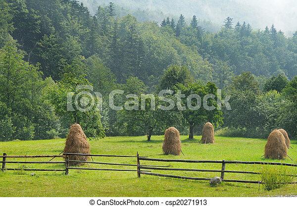 Haystacks en el valle de la montaña - csp20271913