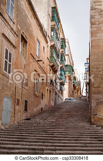 Valletta Uralt Altes Treppenaufgang Malta Balkon Steinmauern