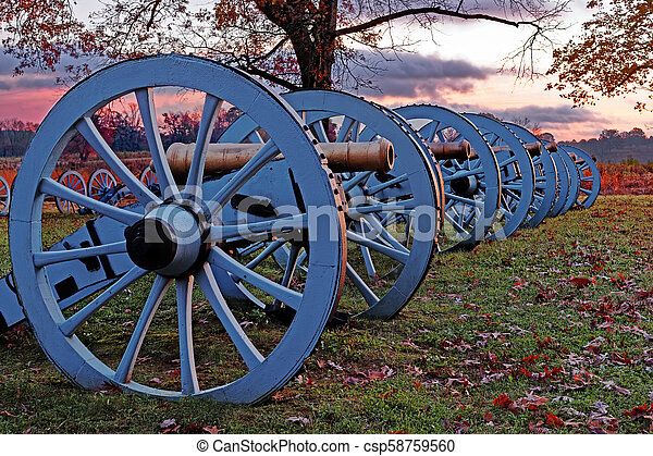 Valley Forge Cannons at Sunrise - csp58759560