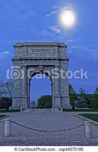 Valley Forge National Memorial Arch in Moonlight - csp44070185