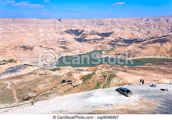 valley of Wadi Al Mujib river and dam, Jordan - csp9046997