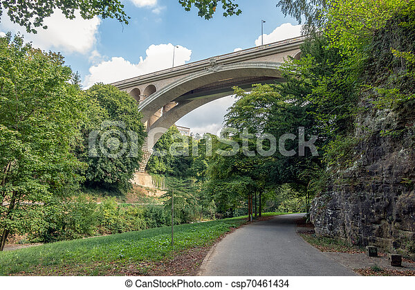 Valley through Luxembourg city with view at bottom Adolphe bridge - csp70461434