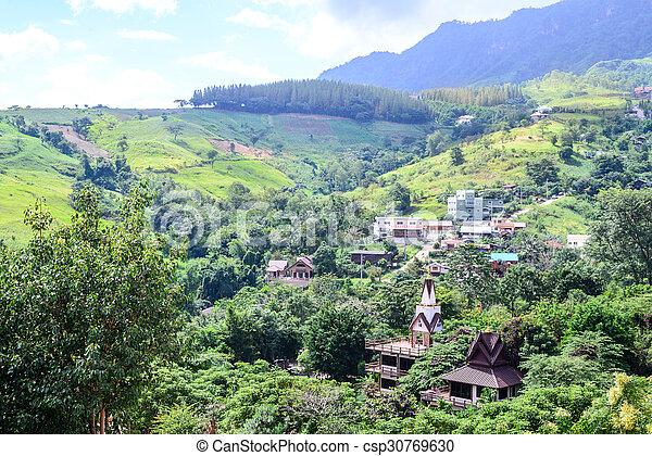 Valley village at Phu Tabberk in Phetchabun, Thailand. - csp30769630