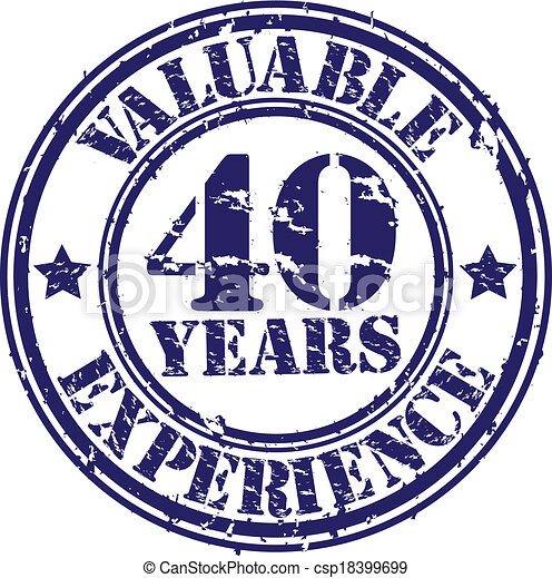 valuable 40 years of experience rubber stamp vector illustration