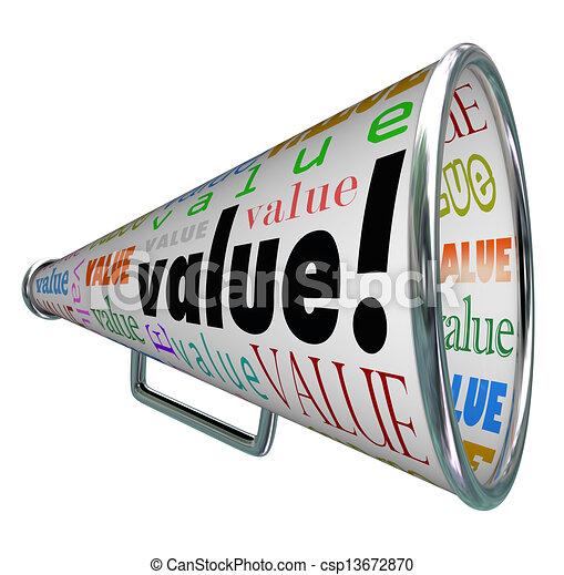 Value Megaphone Bullhorn Advertise Quality Valuable - csp13672870