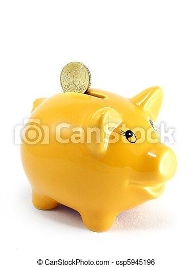 valuta, piggy bank, euro - csp5945196