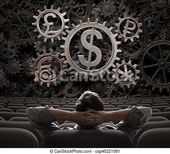 valute, lavorativo, commerciante, mediatore, illustrazione, dall'aspetto, ingranaggi, o, 3d - csp45221091