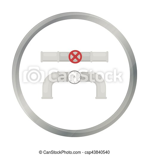 Valve and meter icon in cartoon style isolated on white background ...