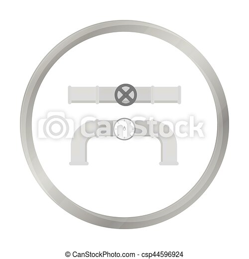 Valve and meter icon in monochrome style isolated on white... vector ...