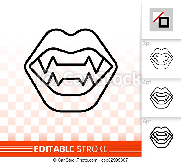 Halloween Vampire Fangs Clipart.Vampire Fangs Simple Black Line Vector Icon