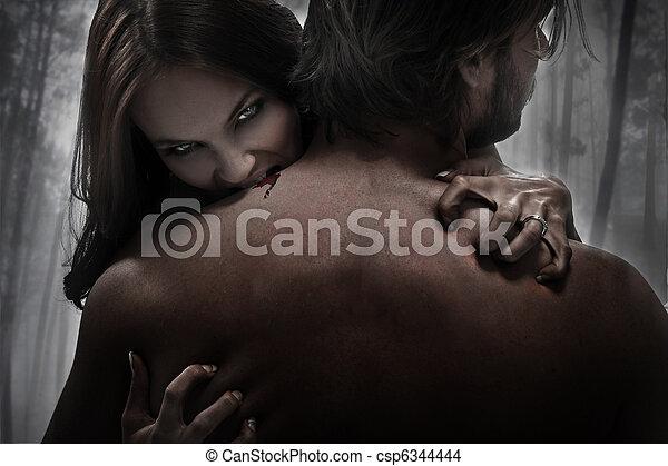 vampiro, mulher, mordida - csp6344444