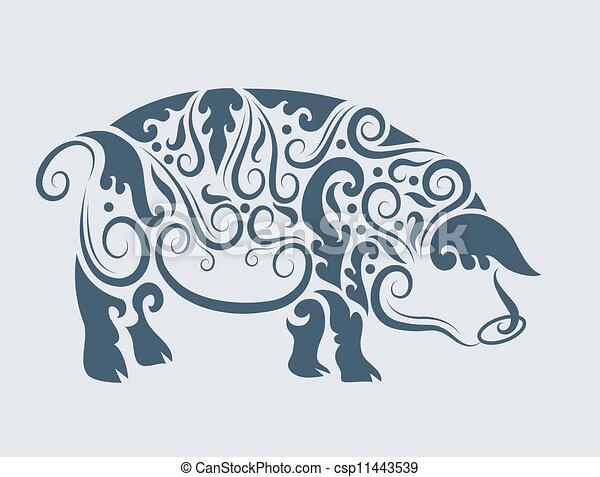 van een stam, vector, ontwerp, varken - csp11443539