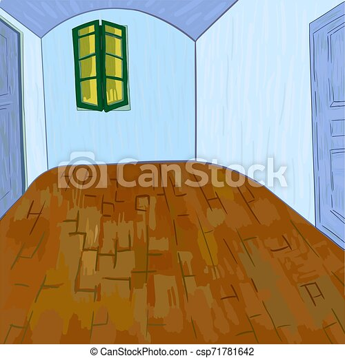 Van Gogh S Bedroom Without Furniture And Things Digital Version Of Van Gogh S Painting Bedroom In Arles 1888 Post Canstock