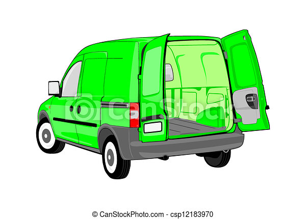Van With Open Back Door Without Gradients Easy To Change Colors