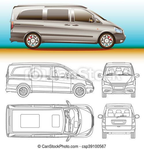 Van template commercial vehicle blueprint outline drawing van template commercial vehicle blueprint outline drawing proection all view bus malvernweather Image collections