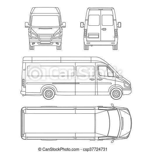 Van template commercial vehicle blueprint drawing proection all van template commercial vehicle blueprint drawing proection all view bus malvernweather Image collections