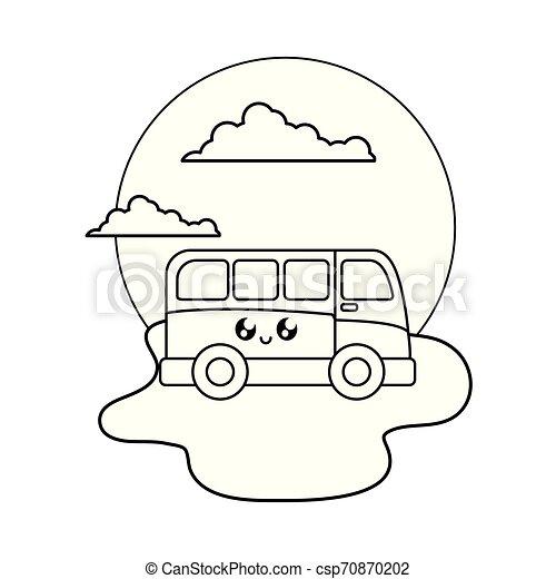 van vehicle kawaii in the beach - csp70870202