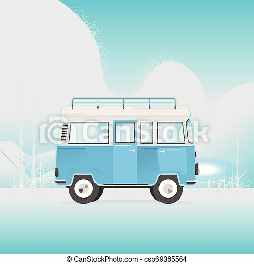 Van with on top of the roof on blue background. Vector. Illustrator - csp69385564