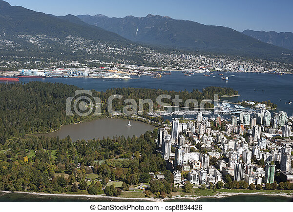 Vancouver Aerial - West End and Coast Mountains - csp8834426