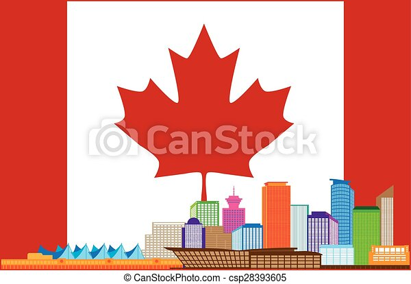 Vancouver BC Canada Colorful Skyline in Canadian Flag Illustration - csp28393605