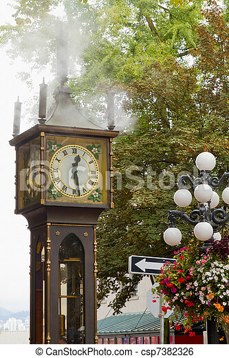 Vancouver BC Historic Gastown Steam Clock - csp7382326