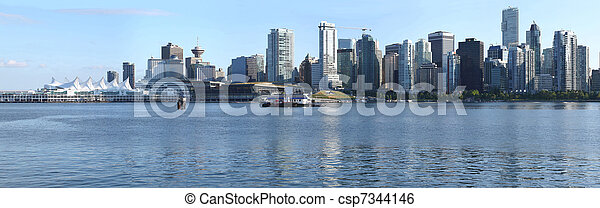 Vancouver BC skyline & Canada  Place panorama, Canada.  - csp7344146