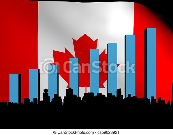 Vancouver skyline and graph over flag - csp9023921