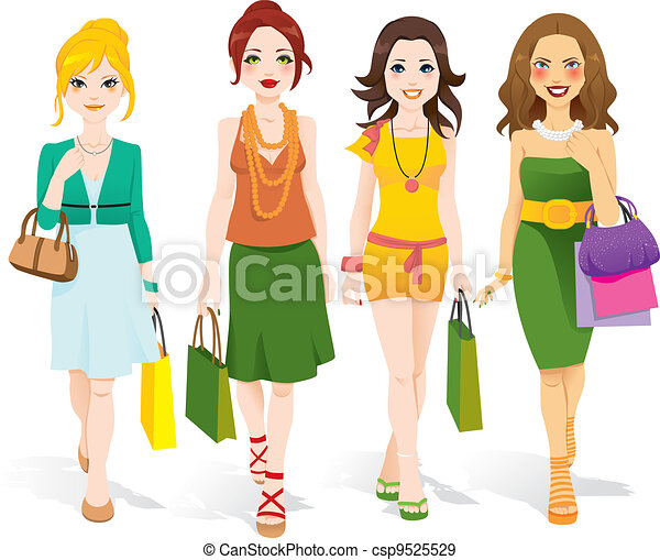 vandrande, mode, flickor - csp9525529