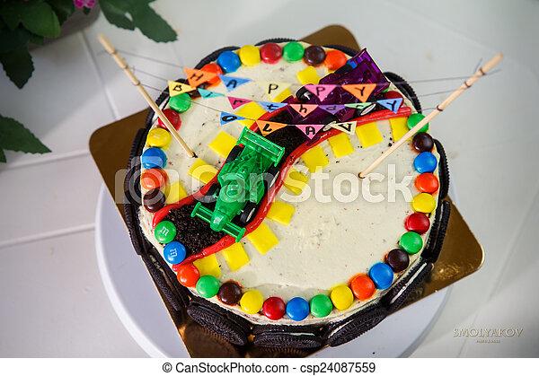Vanilj Födelsedag Utsökt Tårta Parti Barn Småkakor Bilar