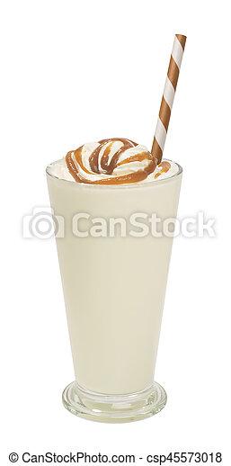 vanilla milkshake with syrup isolated - csp45573018