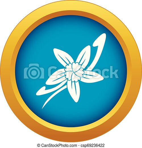 Vanilla sticks with a flower icon blue vector isolated - csp69236422