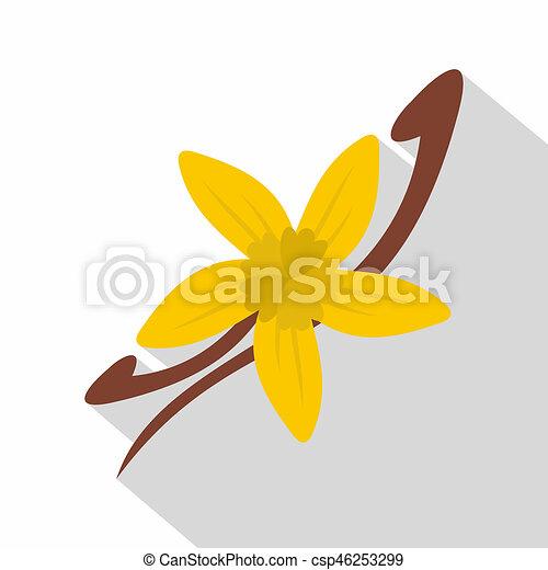 vanille, style, icône, boîtiers, fleur, plat - csp46253299
