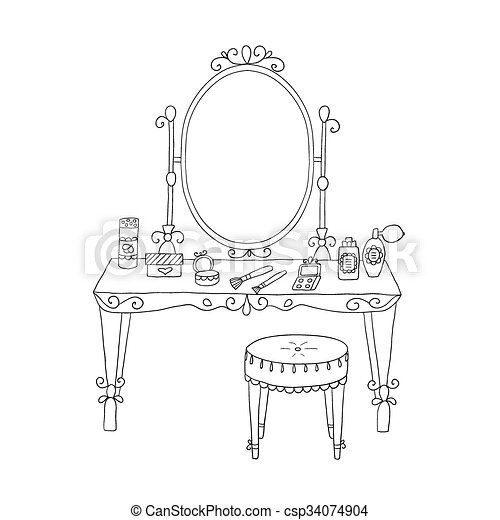Vanity Table With Makeup And A Chair Vector Vector Clipart Search Illustration Drawings And