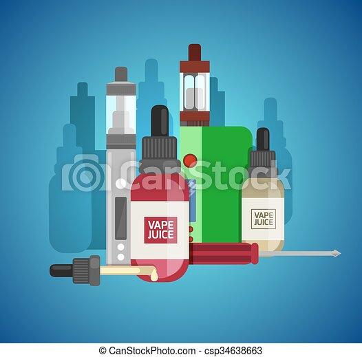 Vape device vector set. Vaping juice for vape. Vape trend new culture. Vape smoking. Vapor vaping. Vape vector sign.  - csp34638663