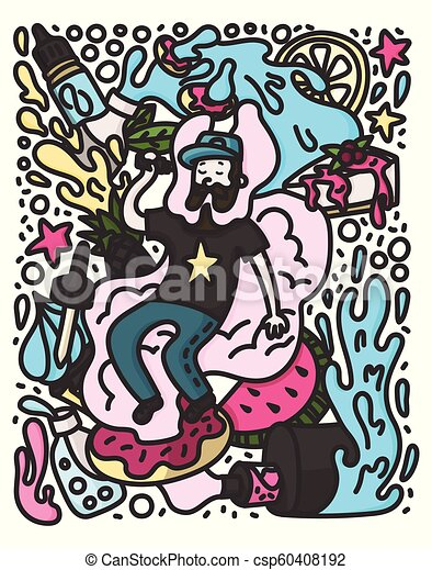 Vape doodle style illustration  Vaping hipster with beard on the cloud