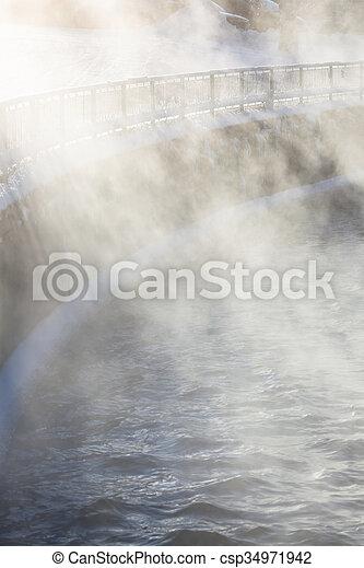 vapeur eau, éclairé, lumière soleil - csp34971942