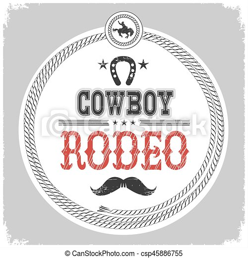 La etiqueta del rodeo de vaqueros con decotarion de vaquero aislada en blanco. - csp45886755