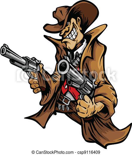 La mascota de dibujos animados de vaqueros apuntando armas - csp9116409