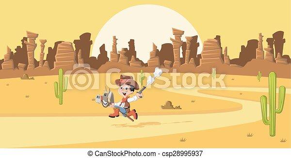 Un vaquero de dibujos animados - csp28995937