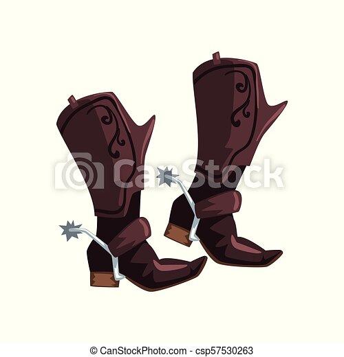 vaquero, cuero, ilustración, vector, botas, plano de fondo, par, blanco