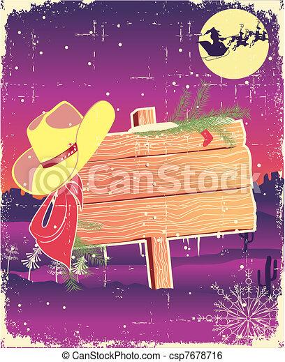 Encuadre de cartel con sombrero de vaquero. Antecedentes de navidad para texto. - csp7678716