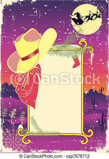 Encuadre de cartel con sombrero de vaquero. Antecedentes de navidad para texto. - csp7678712