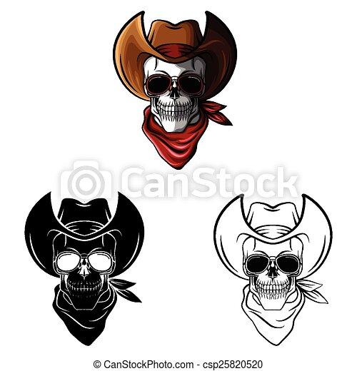 Vaquero, libro colorear, cráneo, caracter. .eps10, colorido ...