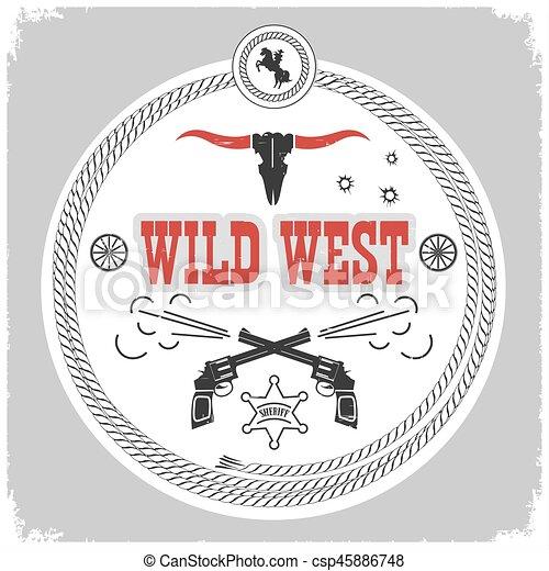 Etiqueta del Salvaje Oeste con decotarión vaquero aislada en blanco. - csp45886748