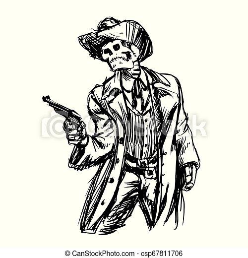 Un vaquero esqueleto con revólver - csp67811706
