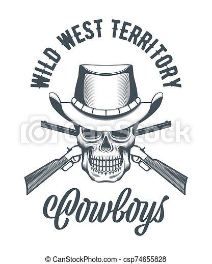 vaquero, rifles, cráneo, cruzado, sombrero - csp74655828