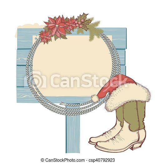 Botas de vaquero y lazo en madera aislada en blanco para texto - csp40792923