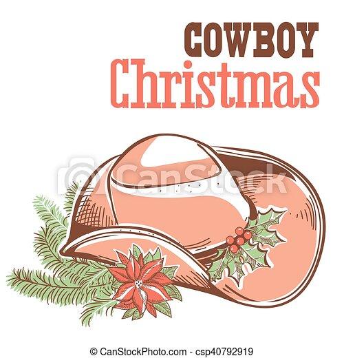 Tarjeta de Navidad Cowboy con texto aislado en blanco - csp40792919