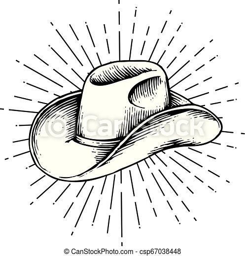 Sombrero de vaquero - ilustración de vector grabado a mano dibujada - csp67038448